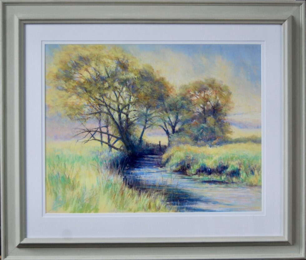 River Arun morning pastel painting